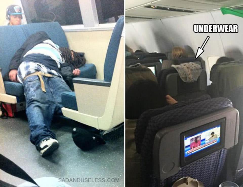 άνθρωποι σε μετρό και αεροπλάνο