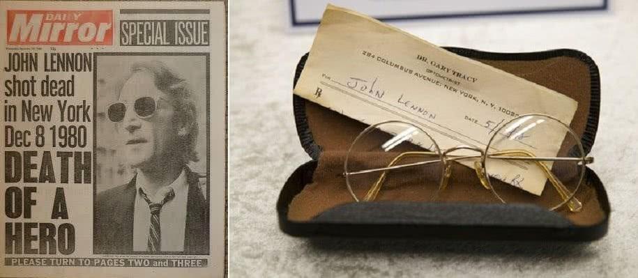 εφημερίδα και τα γυαλιά του john lennon
