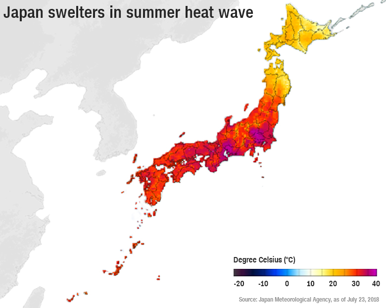 ιαπωνία, χάρτης θερμοκρασία